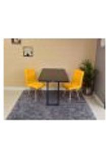 Conjunto De Mesa Dobrável Retrátil 120 X 75 Preta + 2 Cadeiras Gomos - Amarela