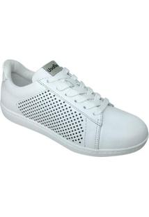 Tênis Usaflex Cadarço Furinhos Feminino - Feminino-Branco