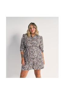 Macacão Curto Em Crepe Estampa Animal Print Com Amarração Curve & Plus Size | Ashua Curve E Plus Size | Branco | Eg