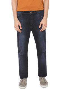 Calça Jeans Denuncia Slim Estonada Azul-Marinho