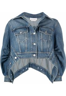 Alexander Mcqueen Puff-Sleeve Asymmetric Denim Jacket - Azul