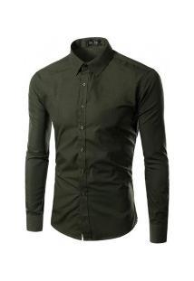 Camisa Social Slim Fit Solid - Verde Militar