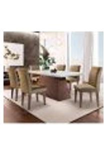 Conjunto De Mesa De Jantar Luna Com 6 Cadeiras Estofadas Grécia Ii Animalle Off White E Chocolate