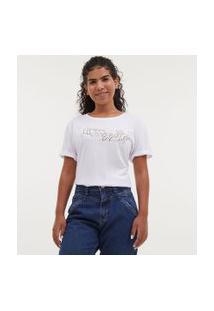 Camiseta Manga Curta Com Bordado De Mãos - Todas Avançam Juntas | Blue Steel | Branca | G
