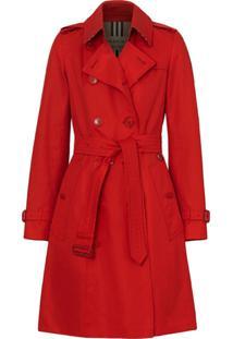 Burberry Trench Coat Gabardine De Algodão - Vermelho