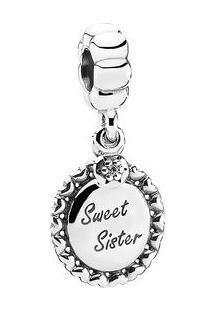 "Charm Pendente ""Sweet Sister""- Prata & Incolor- Pandpandora"