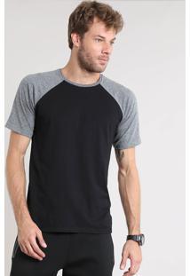 Camiseta Masculina Básica Raglan Manga Curta Gola Careca Preta