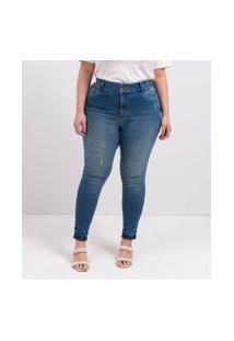Calça Skinny Jeans Push Up Lisa Curve & Plus Size | Ashua Curve E Plus Size | Azul | 46