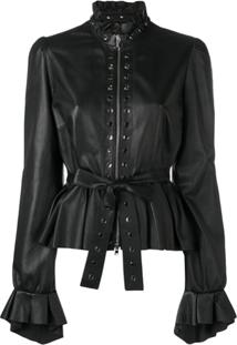 Just Cavalli Peplum Leather Jacket - Preto