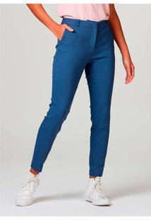 Calça Básica Feminina Alfaiataria Azul
