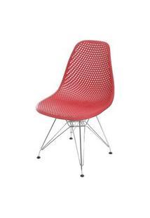 Cadeira Eames Furadinha Cor Vermelho Com Base Cromada - 55988 Preto
