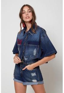 Short Jeans Clarice Patch Jeans - 36 Oh, Boy! Feminino - Feminino
