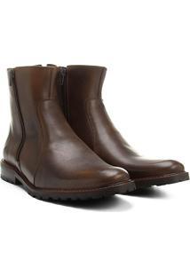 Bota Couro Cano Curto Shoestock Zíper Masculina - Masculino-Café
