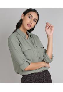 Camisa Feminina Com Bolso Manga Longa Verde Militar