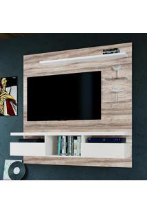 Painel Para Tv Até 55 Polegadas Antares Suspenso Castanha Rústico/Branco -Colibri Móveis