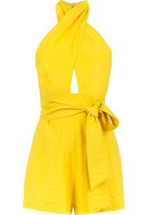 Corporeum Macaquinho Com Decote Cruzado - Amarelo E Laranja