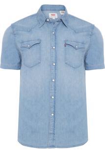 Camisa Masculina Manga Curta - Azul