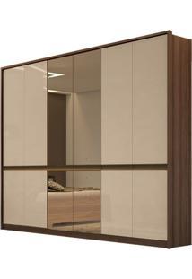 Guarda Roupa Urban New 6 Portas Com Espelho Imbuia Naturale/Off White