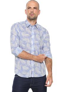 Camisa Aramis Slim Estampada Azul