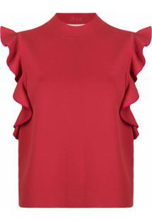 Karl Lagerfeld Vestido Color Block Com Babados - Vermelho