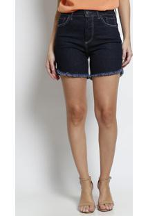 Bermuda Jeans Com Pesponto - Azul Escuropresidium