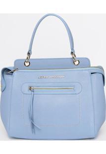 Bolsa Em Couro Com Recortes - Azul Claro- 26X32X15Cmjorge Bischoff