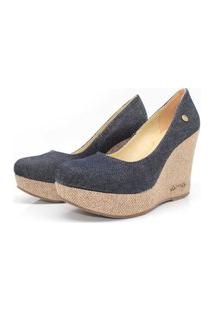 Scarpin Barth Shoes Land Juta Ouro Lona - Jeans