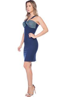 Vestido Richini Tecno Stretch Azul