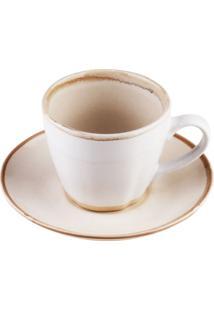 Conjunto 4 Xícaras Porcelana Para Chá Com Pires Good Vibes 185Ml