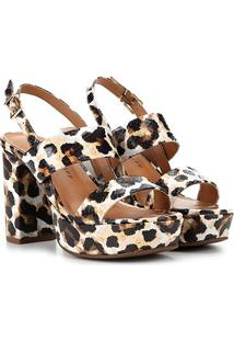Sandália Couro Jorge Bischoff Animal Print Leopardo Feminina - Feminino-Onça