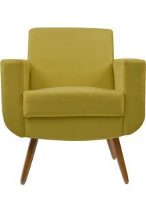 Poltrona Decorativa Kasa Sofá Cristal Suede Amarelo