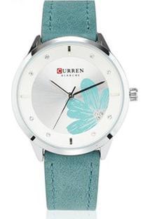 Relógio Curren Analógico C9048L Feminino - Feminino-Prata+Verde