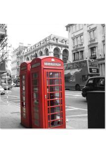 Quadro Londres Cabine Uniart Vermelho 45X45Cm