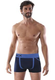 Cueca Boxer Sem Costura Corpo Azul Listra Azul E Triângulo Lateral
