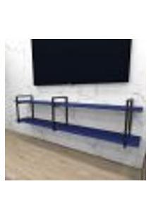 Rack Industrial Aço Cor Preto 180X30X40Cm (C)X(L)X(A) Cor Mdf Azul Modelo Ind39Azrk