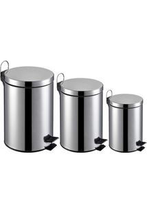 Kit Lixeira Inox 3L, 5L E 12L