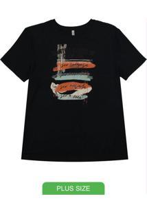 Blusa Manga Curta T-Shirt Com Estampa Preto
