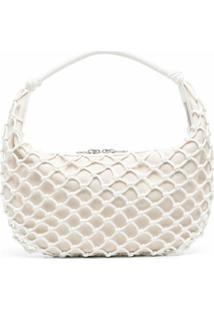 Staud Luna Open-Knit Shoulder Bag - Branco