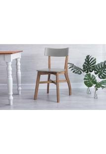 Cadeira De Madeira Para Restaurante Bella Amêndoa E Cinza Concreto 44X51X82 Cm