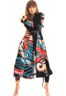 Robe Thais Gusmã£O Manga Bufante Andorinha Tattoo Colorido - Multicolorido - Feminino - Dafiti