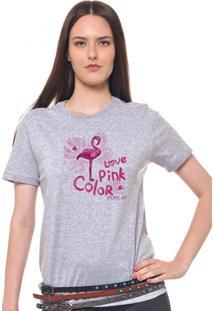 Camiseta Feminina Joss Love Pink Cinza Mescla