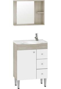 Gabinete Banheiro 60Cm C/ Espelho E Cuba Nogueira/Branco Fellicci Móveis