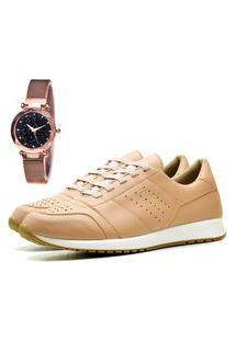 Tênis Sapatênis Casual Elegant Com Relógio Gold Feminino Dubuy 1102-1103La Rosa