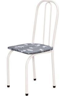 Cadeira Baixa 0.101 Assento Reto Branco/Cinza Claro Floral - Marcheli