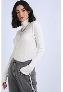 Blusa Feminina Em Tricô Canelado Manga Longa Gola Alta Branca