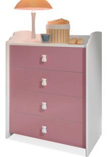 Cômoda Infantil Branca/Rosa Bb 500 4 Gavetas - Completa Móveis