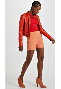 Shorts De Crepe Sarouel Fivela Laranja Califórnia - 40