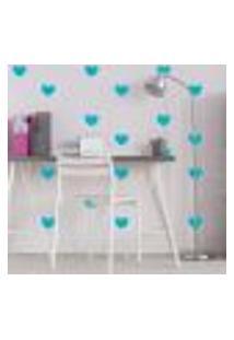 Adesivo De Parede Infantil Coração Azul Turquesa