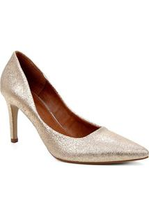 Scarpin Couro Shoestock Salto Alto Mestiço Graciela - Feminino-Dourado
