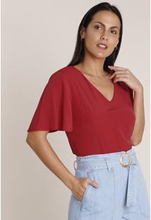 Blusa Feminina Ampla Básica Manga Curta Decote V Vermelha